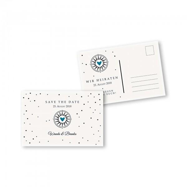 Save the Date Postkarte – 2-Seiter DIN-A6 Kartendesign Gefühlszauber