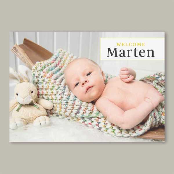 Geburtskarte – Klappkarte – 4-Seiter Klappkarte zur Geburt in der Größe DIN-A6 Querformat mit dem Design Marten