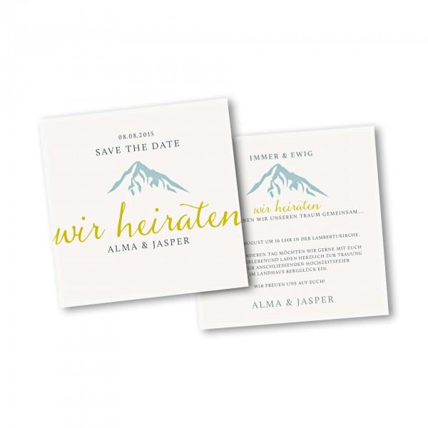 Save the Date Karte – 2-Seiter quadratisch Kartendesign Hochzeitsfeier in den Bergen Version 3