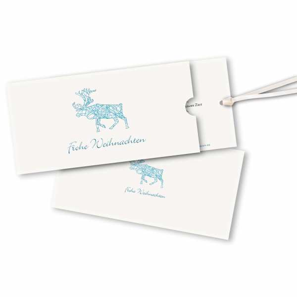 Weihnachtskarte – Schuberkarte DIN-lang mit Satinband Weihnachtsfaden Ren Version 4