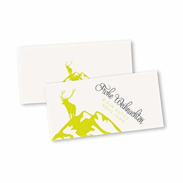 Weihnachtskarte – Klappkarte DIN-lang mit Kopffalz im Kartendesign Wild in den Bergen Version 1 gelb