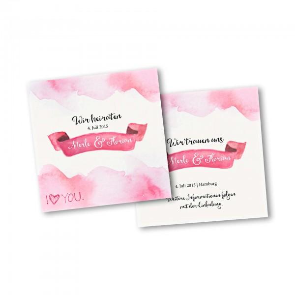 Save the Date Karte – 2-Seiter quadratisch Kartendesign Rosa Wolken - Wir heiraten
