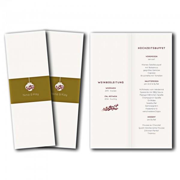 Menükarte – Kartendesign Hochzeitsfest Version 2