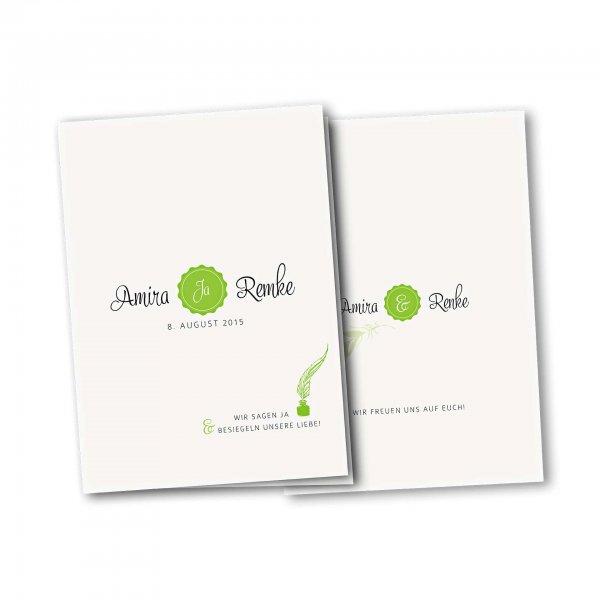 Einladungskarte – 4-Seiter DIN-A5 Kartendesign Die Liebe besiegeln Version 2