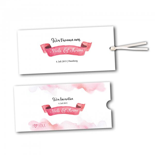 Schuberkarte Save The Date Karte Design Rosa Wolken Wir Heiraten