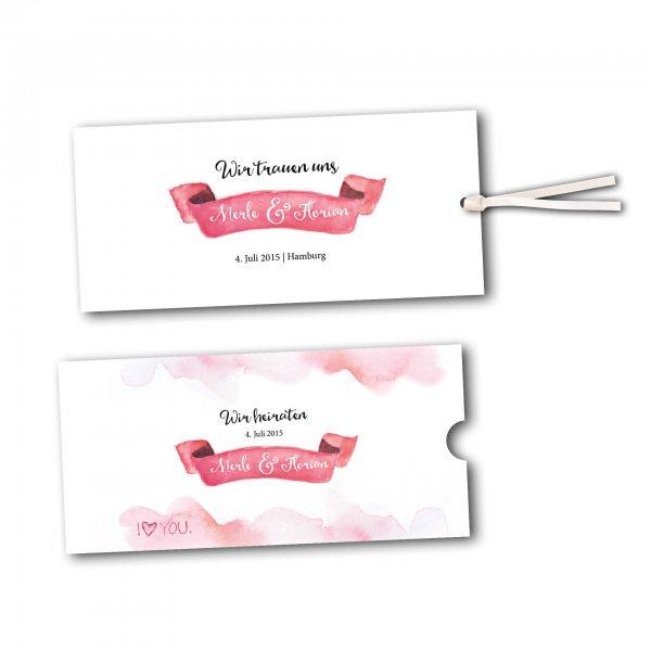 Schuberkarte - Kartendesign Rosa Wolken - Wir heiraten