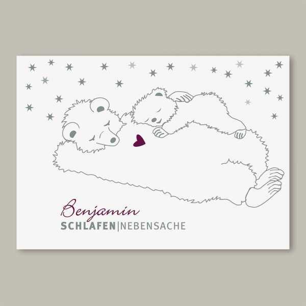 Geburtskarte – Klappkarte – 4-Seiter Klappkarte zur Geburt in der Größe DIN-A6 Querformat mit dem Design Benjamin