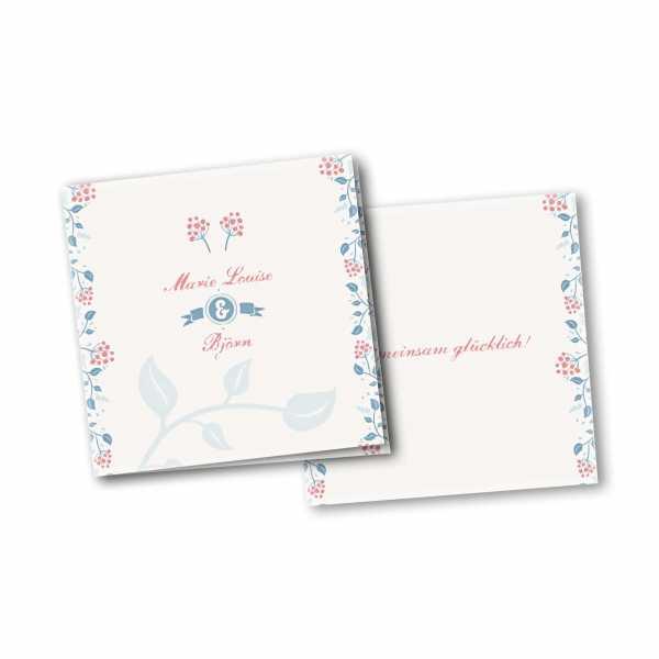 Einladungskarte – 4-Seiter quadratisch Kartendesign Moderne Blumenranken
