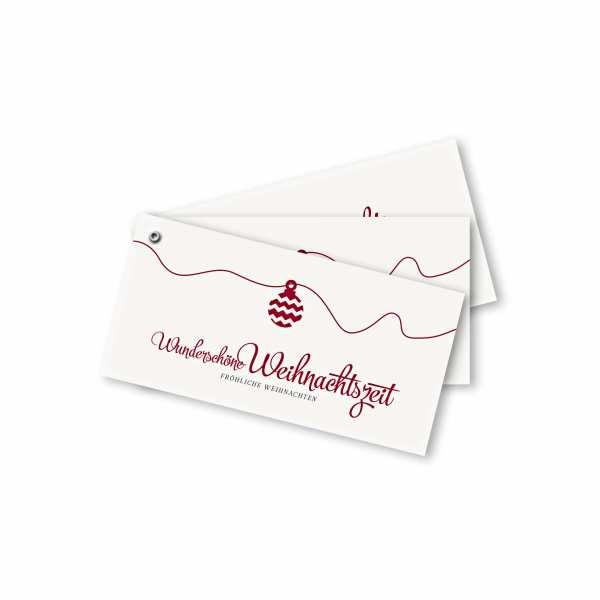 Weihnachtskarte – Fächerkarte DIN-lang Querformat im Kartendesign Weihnachtskugel Version 2