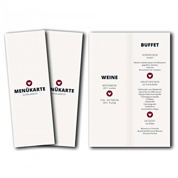 Menükarte – Kartendesign moderne Hochzeitskarte mit Herz im Kreis Version 2