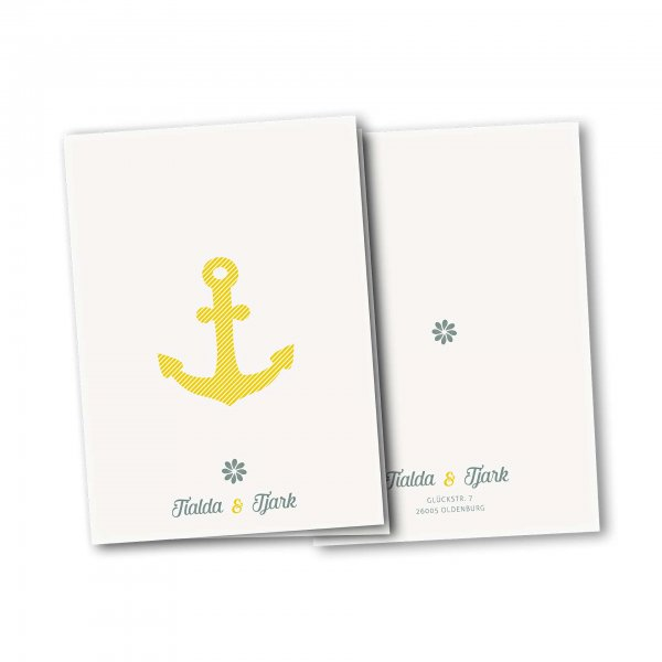 Einladungskarte – 4-Seiter DIN-A5 Kartendesign Grosser Anker gestreift