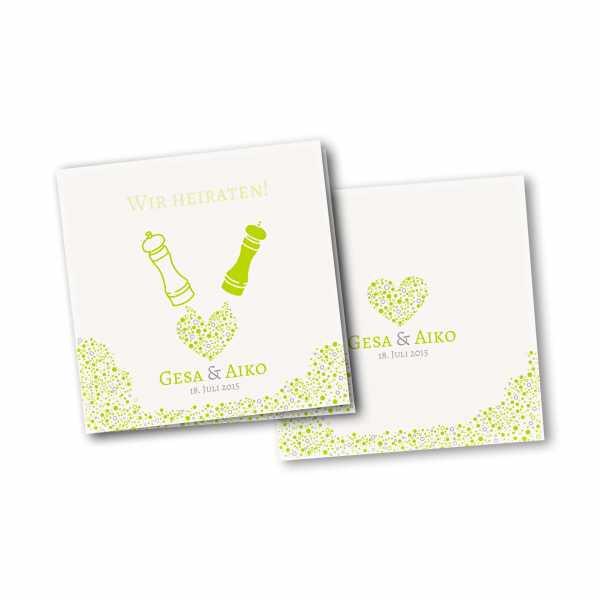 Einladungskarte – 4-Seiter quadratisch Kartendesign Wie Salz und Pfeffer