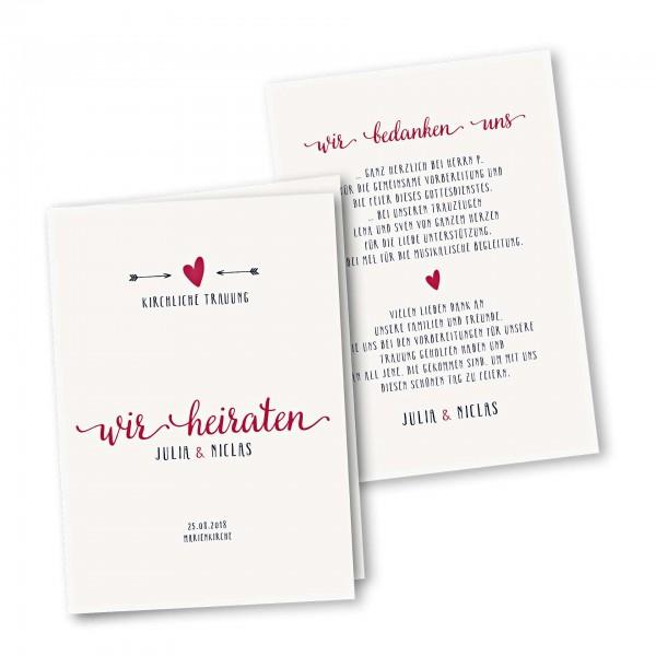 Kirchenheft 4 Seiter – Klappkarte DIN-A5 Kartendesign Amor trifft