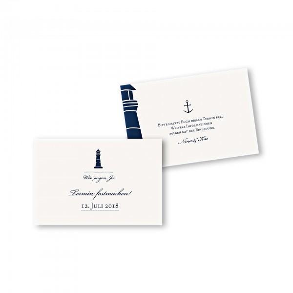 Save the Date flache Karte mit Umschlag – 2-Seiter DIN-A6 Kartendesign Maritim