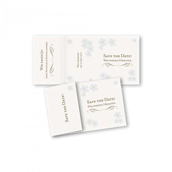 Save the Date Einklapperkarte – Klappkarte DIN-A6 Kartendesign Blütenzauber