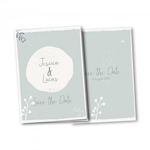 Einladungskarte – 4-Seiter DIN-A5 Kartendesign Retro Hochzeit