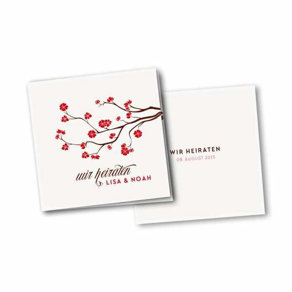 Einladungskarte – 4-Seiter quadratisch Kartendesign Baumblüte