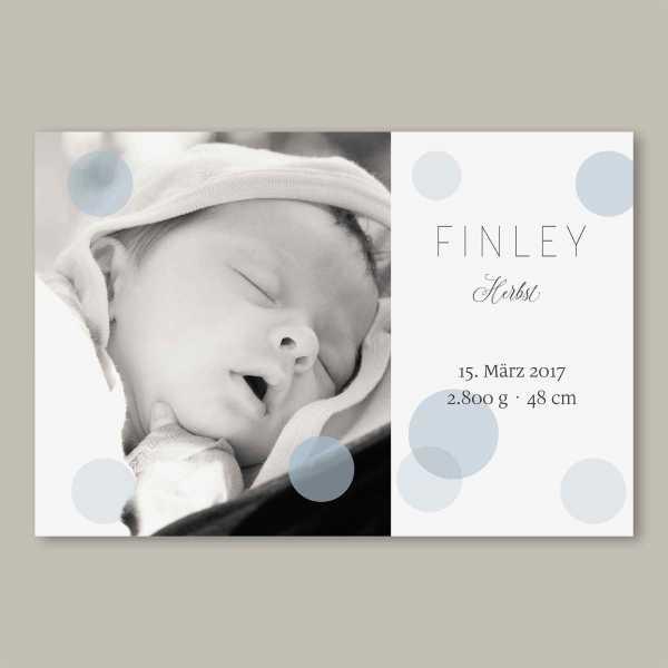 Geburtskarte – flache Karte mit Umschlag – 2-Seiter flache Karte zur Geburt in der Größe DIN-A6 Querformat mit dem Design Finley