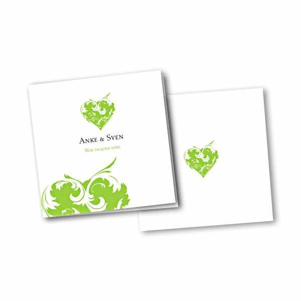 Einladungskarte – 4-Seiter quadratisch Kartendesign Traumhochzeit
