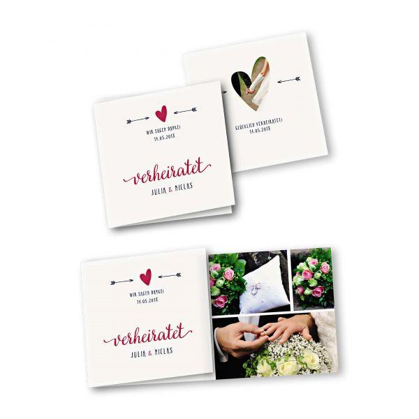 Danksagungskarte – 6-Seiter quadratisch Kartendesign Amor trifft