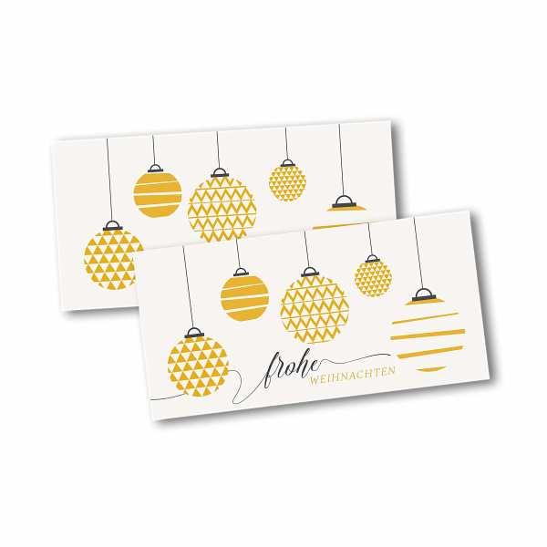 Weihnachtskarte – Klappkarte DIN-lang mit Kopffalz im Kartendesign Moderne Weihnachtskugeln mit Mustern Version 2