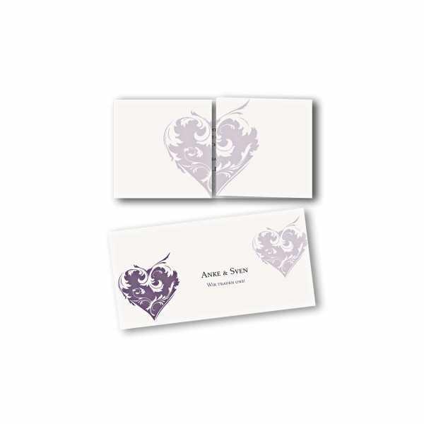 Einladungskarte – Altarfalzkarte DIN-lang im Kartendesign Traumhochzeit