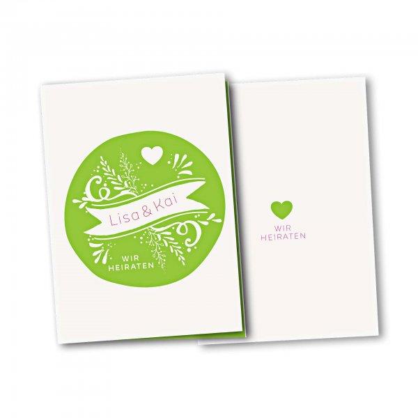 Einladungskarte – 4-Seiter DIN-A5 Kartendesign Kreis und Herz Version 2