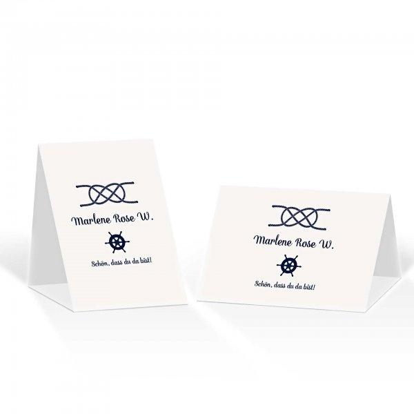 Platzkarte Aufsteller A6 – Kartendesign Kreuzknoten - Steuerrad zur Hochzeit