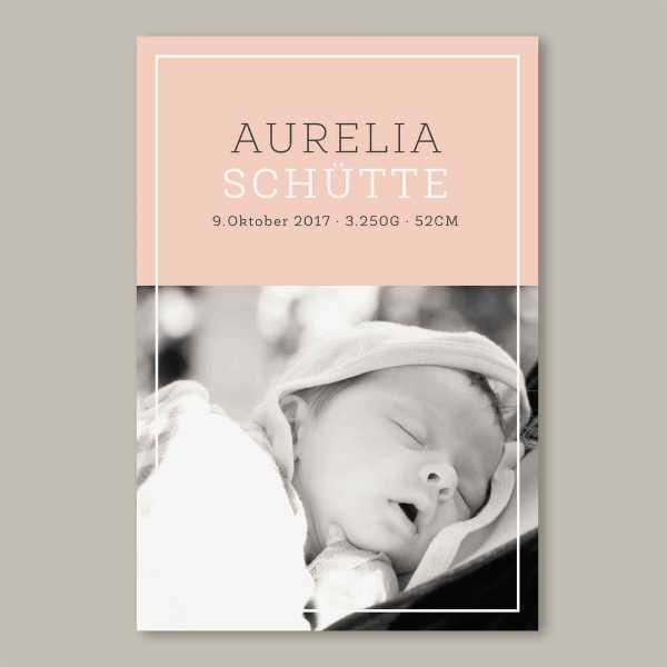 Geburtskarte flache Karte inkl. Umschlag – 2-Seiter DIN-A6 Hochformat Kartendesign Aurelia