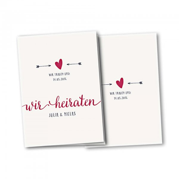Einladungskarte – 4-Seiter DIN-A5 Kartendesign Amor trifft