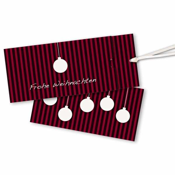 Weihnachtskarte – Schuberkarte DIN-lang mit Satinband Weihnachtskugel