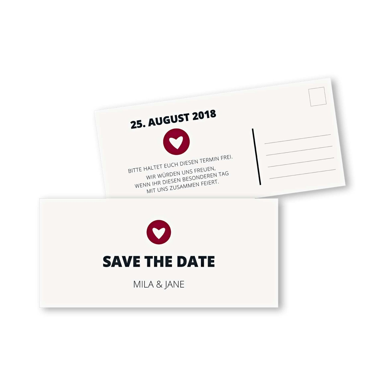 Save the Date Postkarte DIN lang im Design moderne Hochzeitskarte
