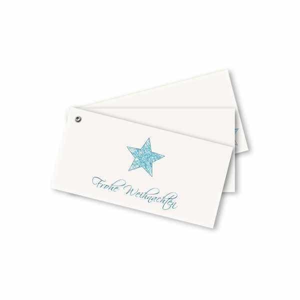 Weihnachtskarte – Fächerkarte DIN-lang Querformat im Kartendesign Weihnachtsfaden Stern Version 1