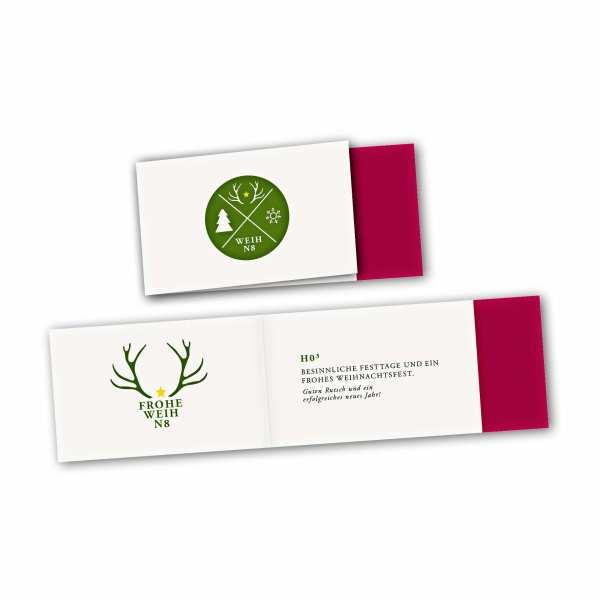Weihnachtskarte – asymmetrische Klappkarte DIN-lang mit Rückenfalz im Kartendesign WEIHN8