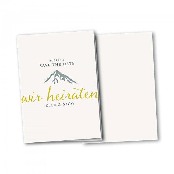 Einladungskarte – 4-Seiter DIN-A5 Kartendesign Hochzeitsfeier in den Bergen Version 2