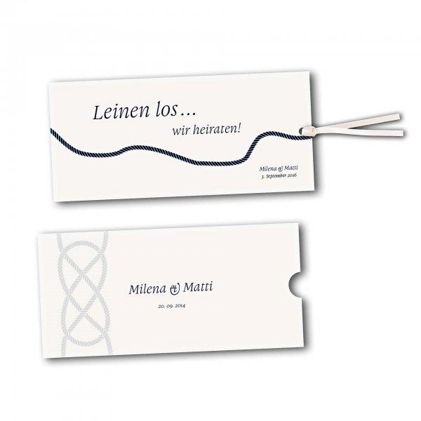 Schuberkarte - Kartendesign Kreuzknoten - maritime Hochzeitskarte