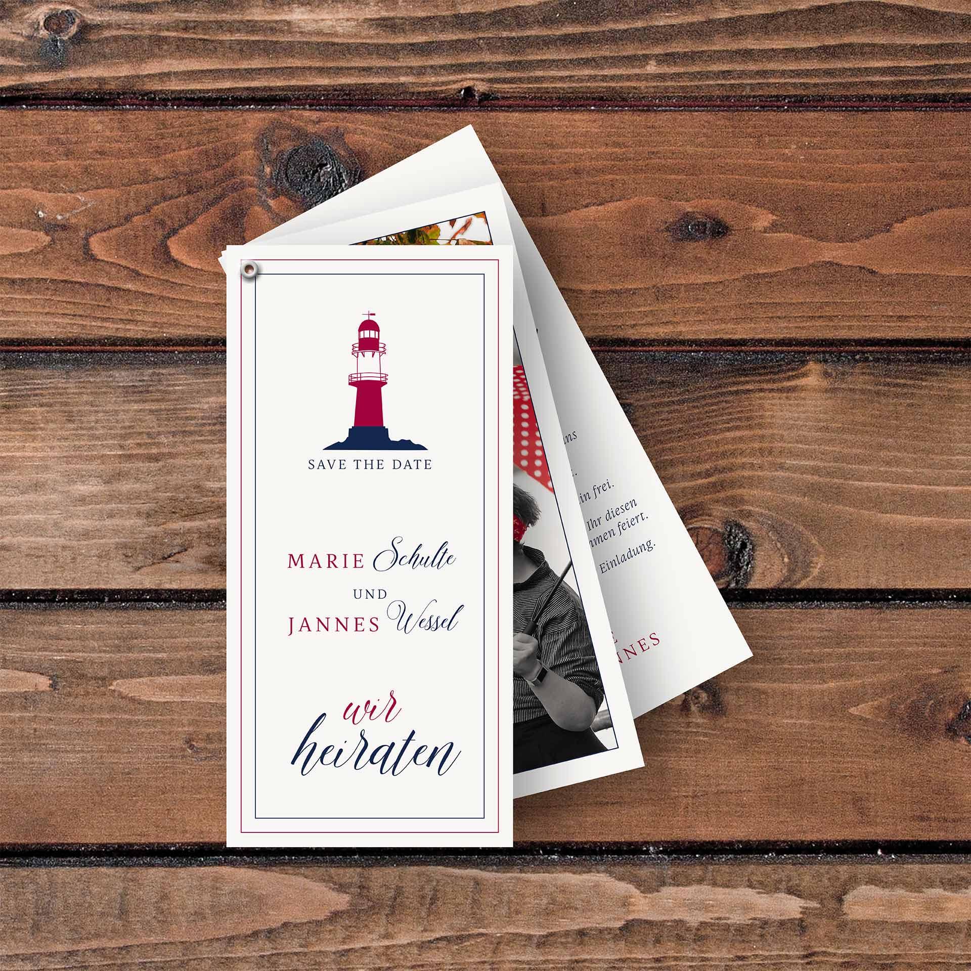 Einladungskarten Faecherkarten Leuchtturm Maritim
