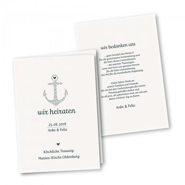 Kirchenheft 4 Seiter – Klappkarte DIN-A5 Kartendesign Anker kombiniert mit Typografie Version 1