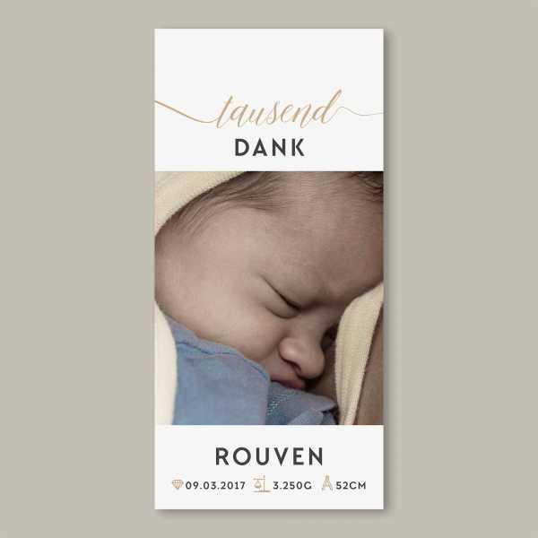 Geburtskarte – Klappkarte – 4-Seiter Klappkarte zur Geburt in der Größe DIN-lang Hochformat mit dem Design Rouven