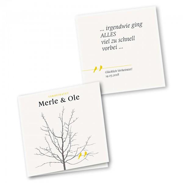 Danksagungskarte – 4-Seiter quadratisch Kartendesign Verliebte Vögel im Baum