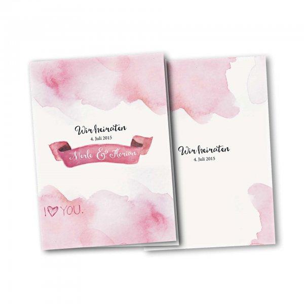 Einladungskarte – 4-Seiter DIN-A5 Kartendesign Rosa Wolken - Wir heiraten