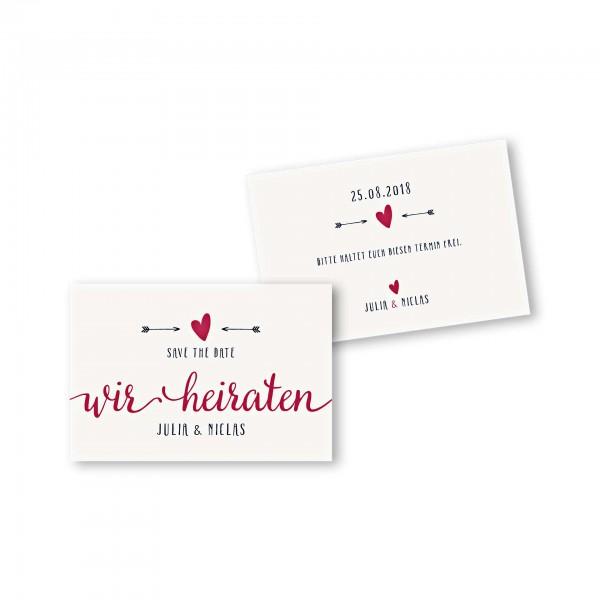 Save the Date flache Karte mit Umschlag – 2-Seiter DIN-A6 Kartendesign Amor trifft