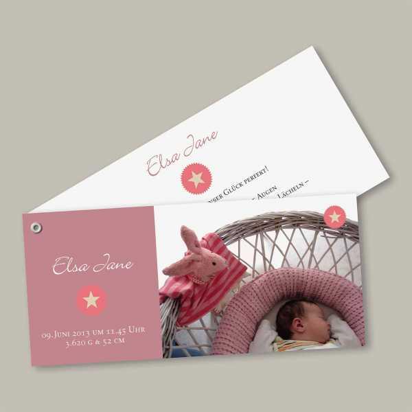 Geburtskarte – Fächerkarte – 2-Blätter Fächerkarte zur Geburt in der Größe DIN-lang Querformat mit dem Design Elsa Jane
