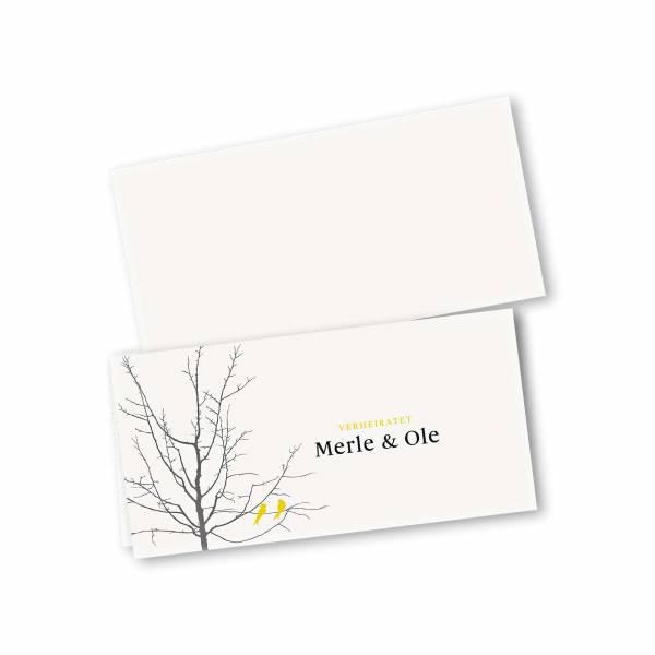 Einladungskarte – 4-Seiter DIN-lang Querformat Kopffalz Kartendesign Verliebte Vögel im Baum