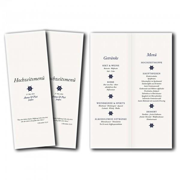 Menükarte – Kartendesign Kleines Steuerrad zur Hochzeit