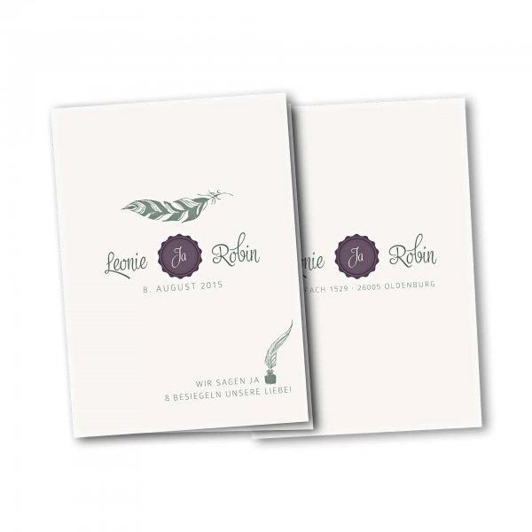 Einladungskarte – 4-Seiter DIN-A5 Kartendesign Die Liebe besiegeln