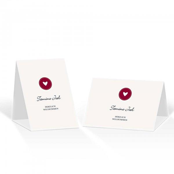 Platzkarte Aufsteller A6 – Kartendesign moderne Hochzeitskarte mit Herz-Siegel
