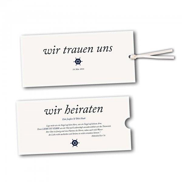 Schuberkarte - Kartendesign Kleines Steuerrad zur Hochzeit