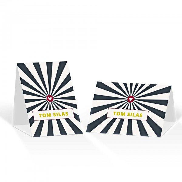 Platzkarte Aufsteller A6 – Kartendesign moderne Hochzeitskarte mit Herz im Kreis Version 2