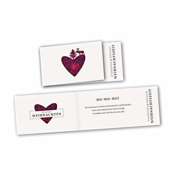 Weihnachtskarte – asymmetrische Klappkarte DIN-lang mit Rückenfalz im Kartendesign Rentier Herz Weihnachtsbaum